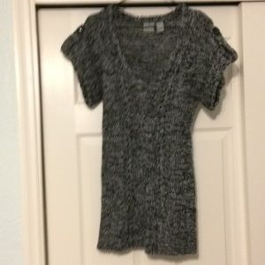 Black & gray, cable knit sweater.